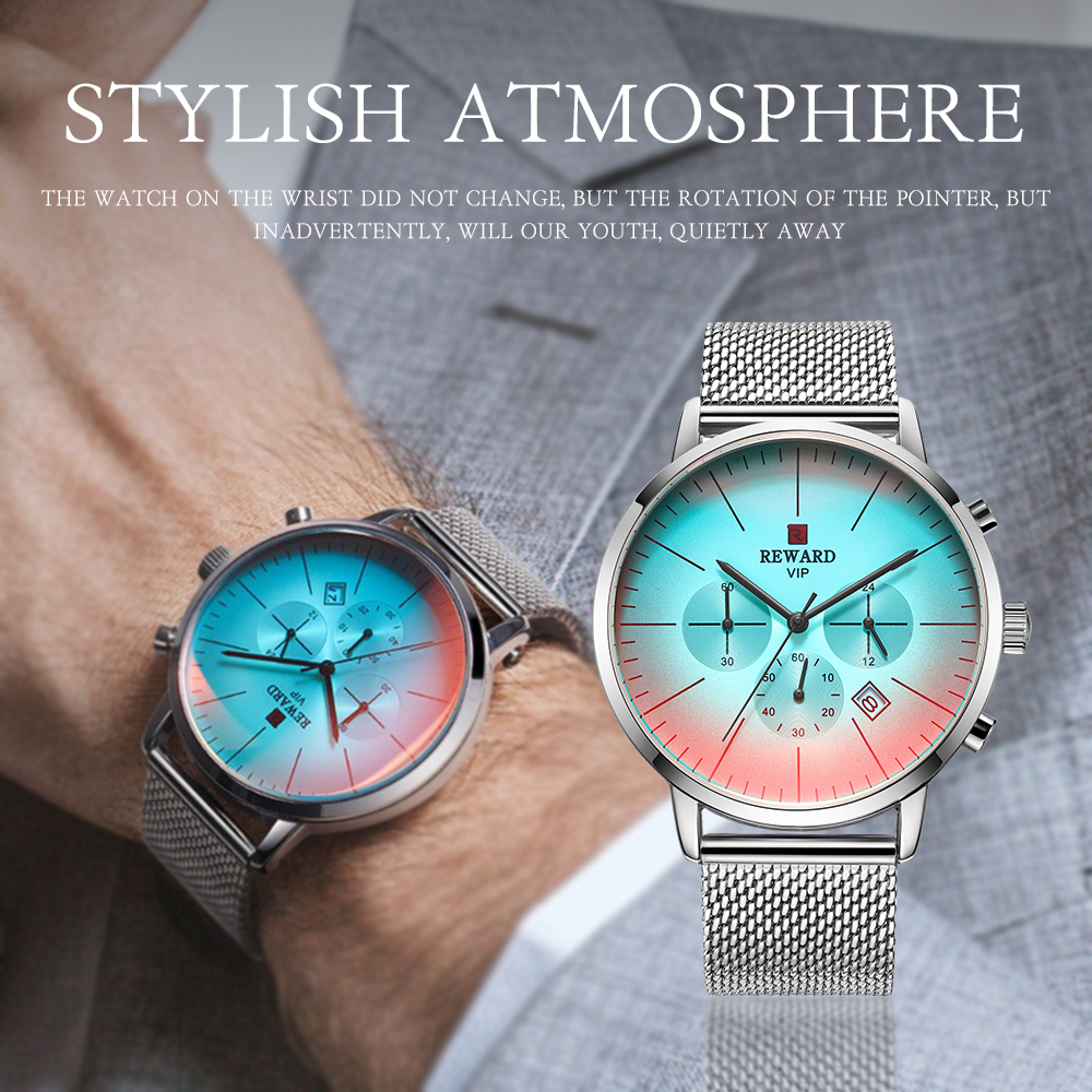 IsMyStore: 2020 New Fashion Color Bright Glass Watch Men Top Luxury Brand Chronograph Men's Stainless Steel Business Clock Men Wrist Watch