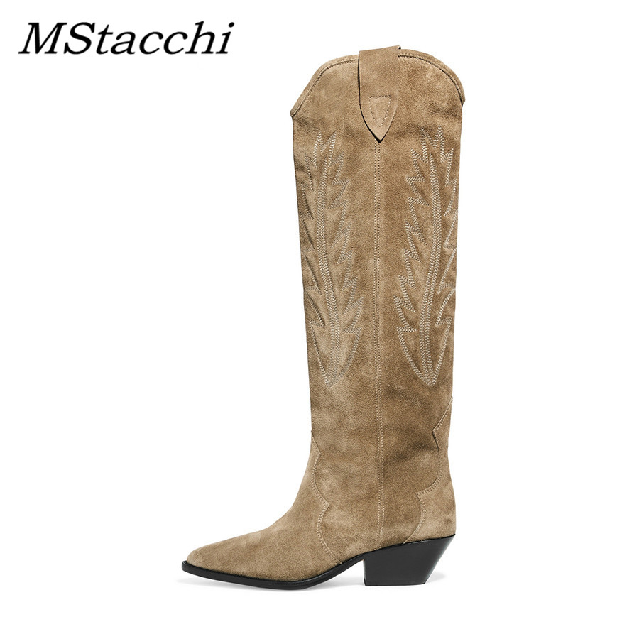 MStacchi Nude Black Suede Embroidered Knee high Boots Women Pointy Toe Spike Kitten heels Winter Long Boots Flats Knight Boots 1
