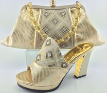 Italian Matching Shoe And Bag Set African Wedding Shoe And Bag Set Italy Women Sandal High Heels Shoes With Bag Set ME3323