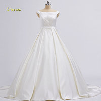 Loverxu Vestido De Noiva Boat Neck A Line Wedding Dresses 2017 Embroidery Beaded Matte Satin Vintage