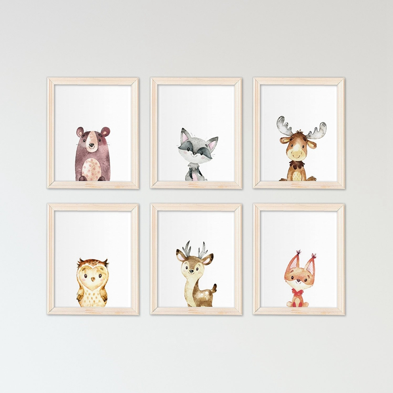 Us 2 66 20 Off Woodland Animals Art Canvas Painting Wall Picture Nursery Decor Cute Watercolor Rabbit Fox Bear Prints Baby Room In