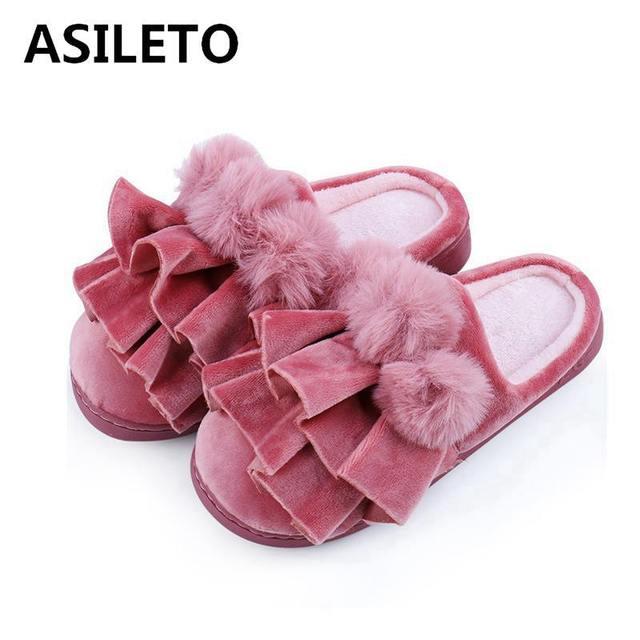 1541bf59b1c ASILETO Fuzzy slippers winter shoes women slippers 20178 winter new style  indoor home slippers warm slides sapatos feminino T424