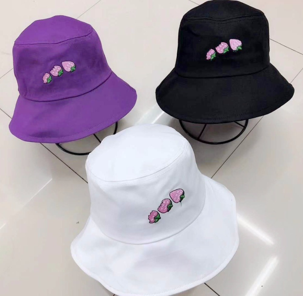 Korean Fashion Design Unisex Soild Color Cotton Animals Pattern Bucket Caps Lovely Summer Ladies Beach Sun Fishing Bucket Hats Women's Hats Apparel Accessories