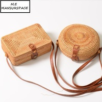 MANSURSPACE Women Handbag Female Travel Vacation Totes Bamboo Handbag For Ladies Handmade Woven Straw Beach Bag Women's Purse