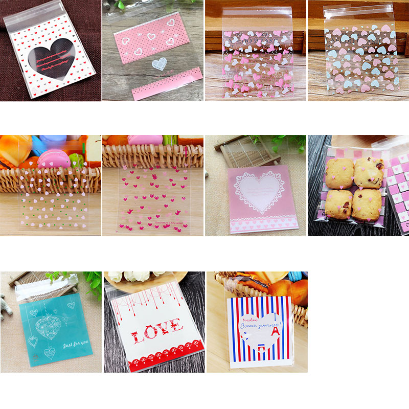 50/100P Cute Cartoon Love Plastic Bag Wedding Birthday Cookie Candy Gift Packaging Bags Party Favors OPP Self Adhesive Pouch