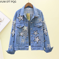 Fashion Sequins Star Embroidery Coat Jacket Women Jeans Long Sleeve Casual Loose Outwear Female Students DiamondsTops