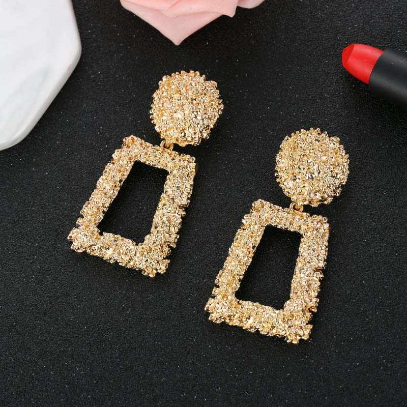 Trendy Punk Heavy Gold Metal Drop Earring Female 2019 Fashion Square Geometric Statement Earrings For Women Party Jewelry Brinco