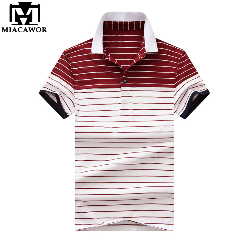 MIACAWOR New 2019 Summer Short-sleeve Men   Polo   shirts Fashion Striped Homme Slim Fit Camisas Men Clothing MT619