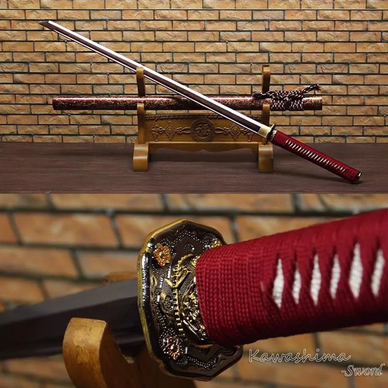 Nyata Pedang Samurai Dilipat Baja Katana Lurus Pisau Plating Kayu - Dekorasi rumah