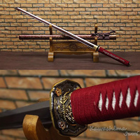 Samurai Sword Folded Steel Katana Straight Blade Coffee Lacquered With Gold lines Wooden Scabbard Full Tang Sharpness