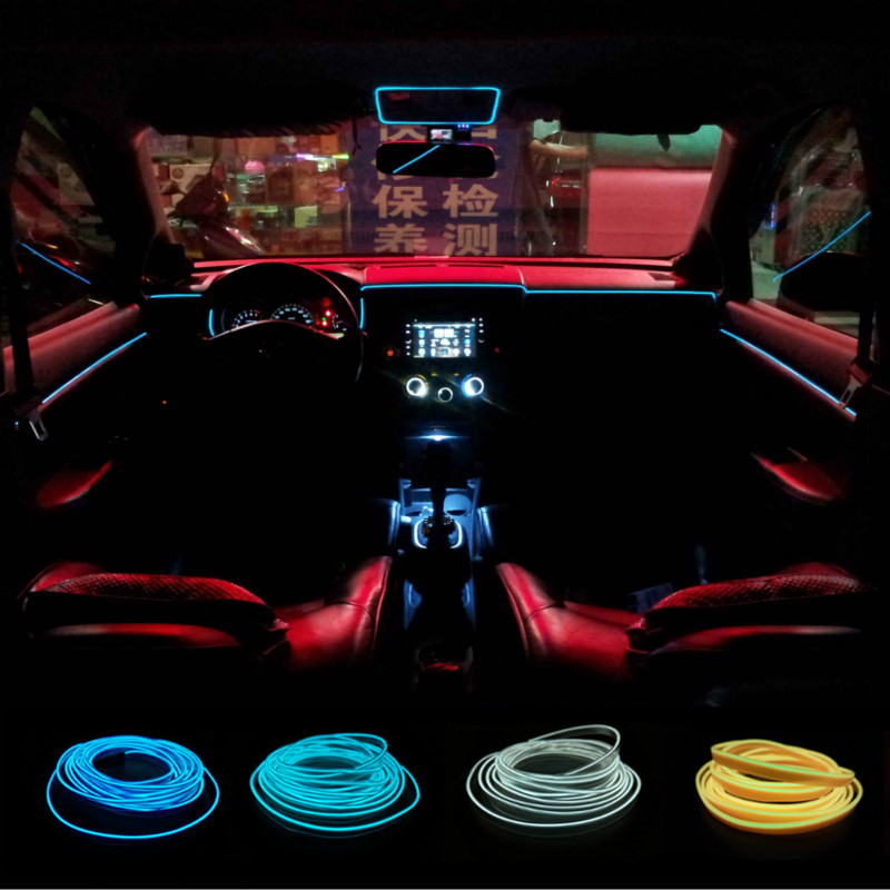 JURUS Universal for 3meters  clamping-edge/ two splices EL Wire Flexible Neon Car Decorate with 12V Controller Free shipping hot sale 10 colors 3m clamping edge two splices led flexible el wire neon glow light with 12v controller for most cars styling