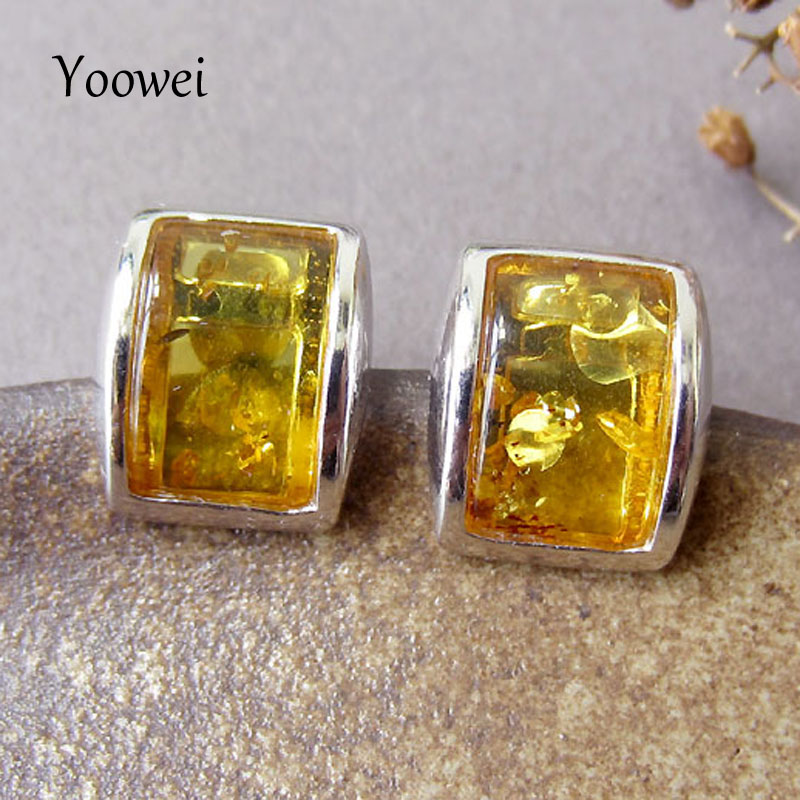 Yoowei 3 Color Amber Earrings for Gift Chic OL Simple Style Stud Earring Women Natural Amber Jewelry Wholesale naturais kehribar