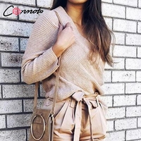 Conmoto Casual Off Shoulder Solid V Neck Sweater Women Batwing Long Sleeve Autumn Winter Pullovers Sexy Femme Jumper