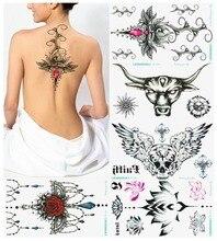 15pcs Large Temporary Tattoos New Waterproof Tattoo Stickers Sexy Chest  Female Tatoo Lotus Skull Totem Flash