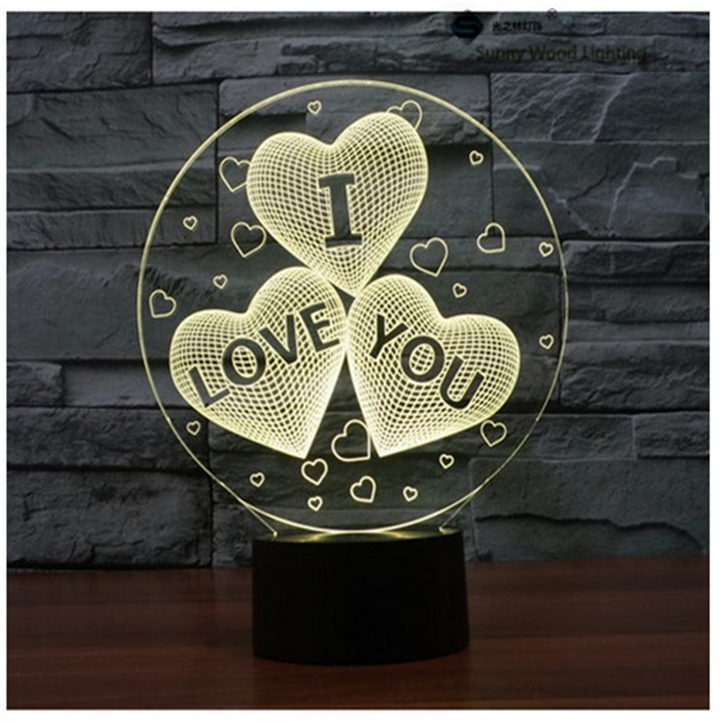 I Love You romantic switch LED 3D lamp,Visual Illusion 7color changing 5V USB for laptop,Christmas cartoon toy lamp