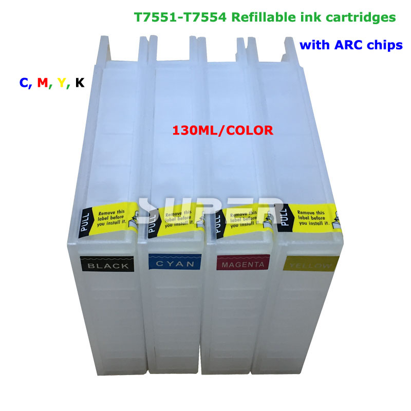 ФОТО For epson t7551- t7554 printer  cartridge for workforce Pro WF-8010DW  8090DW 8590DWF with epson workforce chip reset