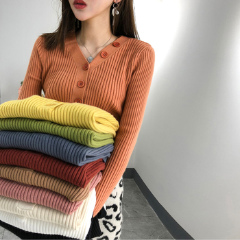 Button V-neck Sweater Women Spring Autumn Solid Knitted Pullover Women Slim Soft Jumper Sweater Female Knit Tops  G103 solid ribbed knit roll neck jumper