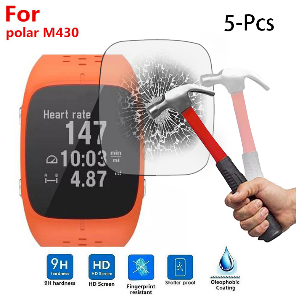 5pcs Pcs Cover For Polar M430 Sport Smart Watch JUN-12A Tempered Glass Film Screen title=
