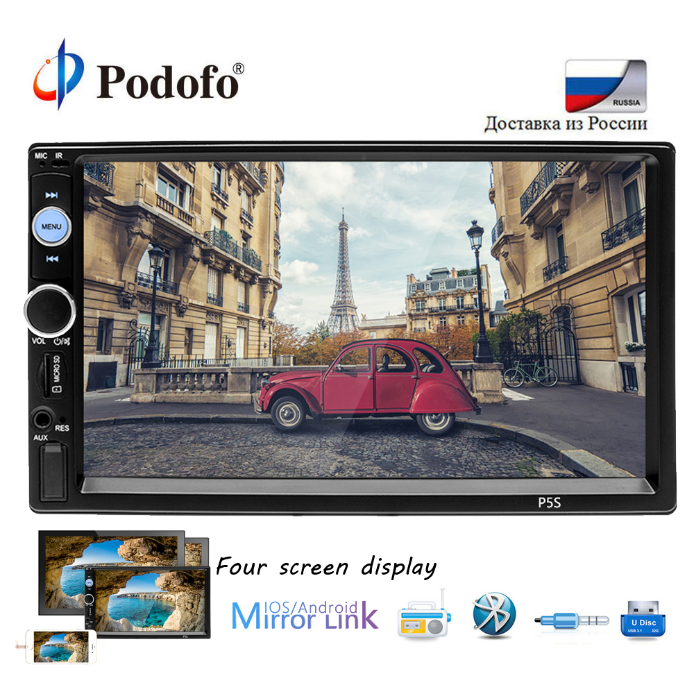Podofo Car Radio Player Mirror Link autoradio 2 din Car Models 7'' LCD Touch Screen Bluetooth auto stereo video output Buletooth