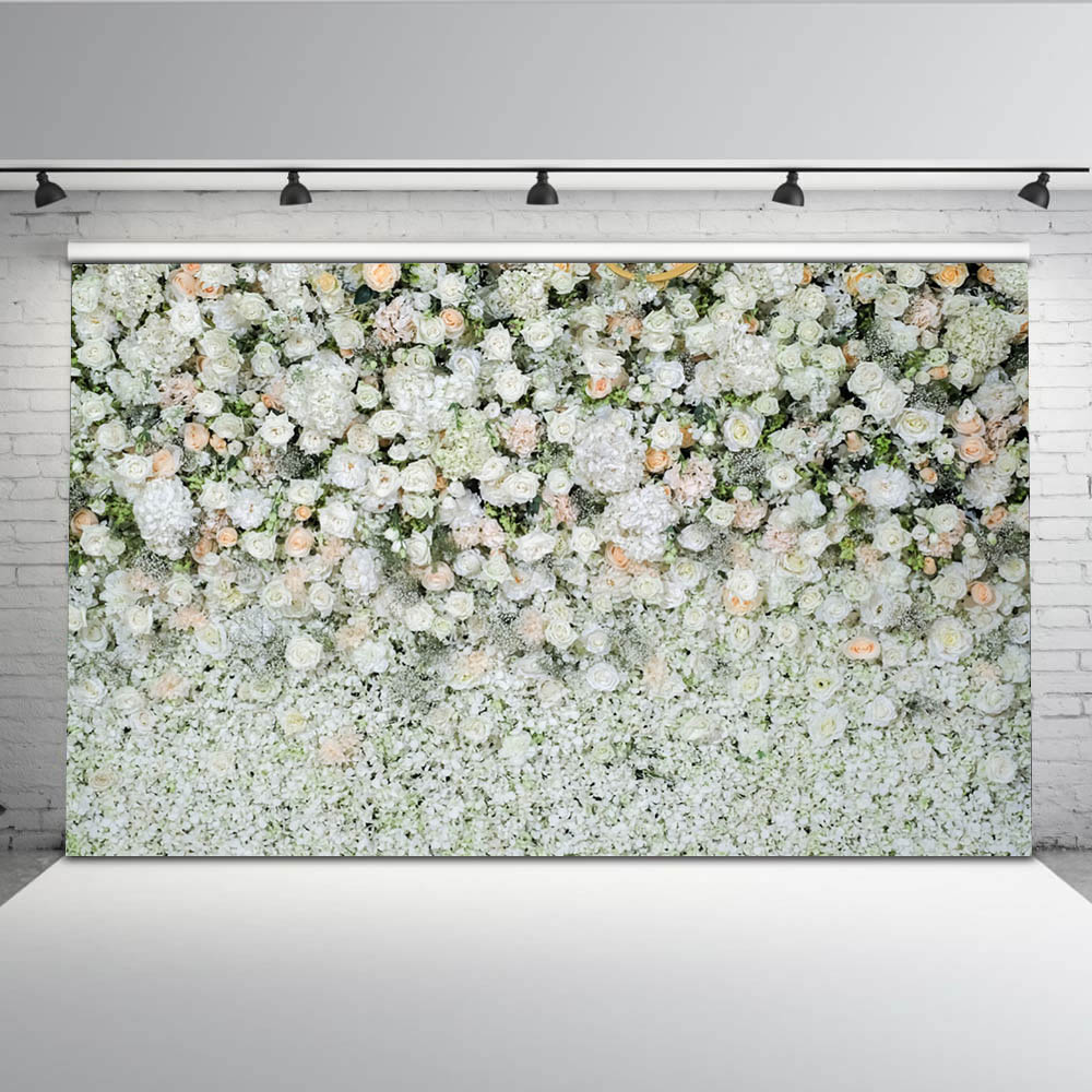 New Large 7X5ft Flower Backdrop White Rose Photo Booth Photography Background