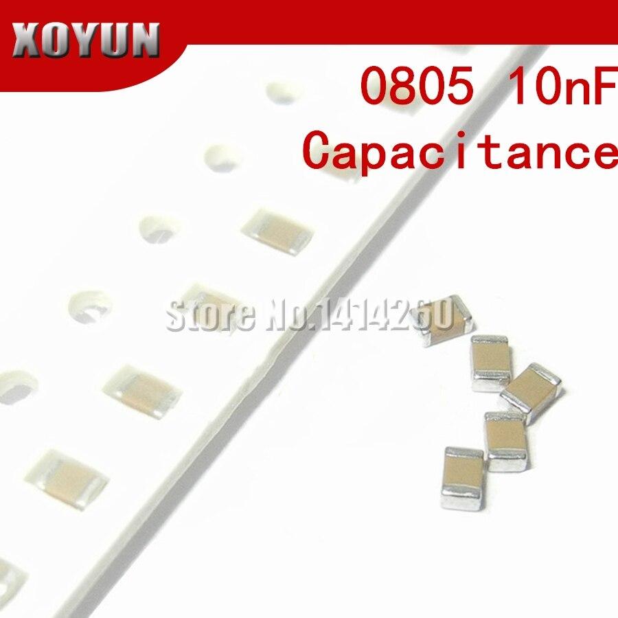 100 pces 0805 10nf x7r erro 10% 50 v 0805 103 smd filme grosso chip multicamada capacitor cerâmico