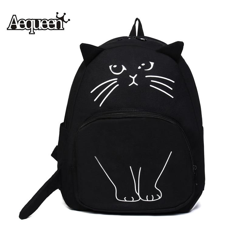 AEQUEEN 여성 귀여운 검은 캔버스 고양이 배낭 학교 - 백팩