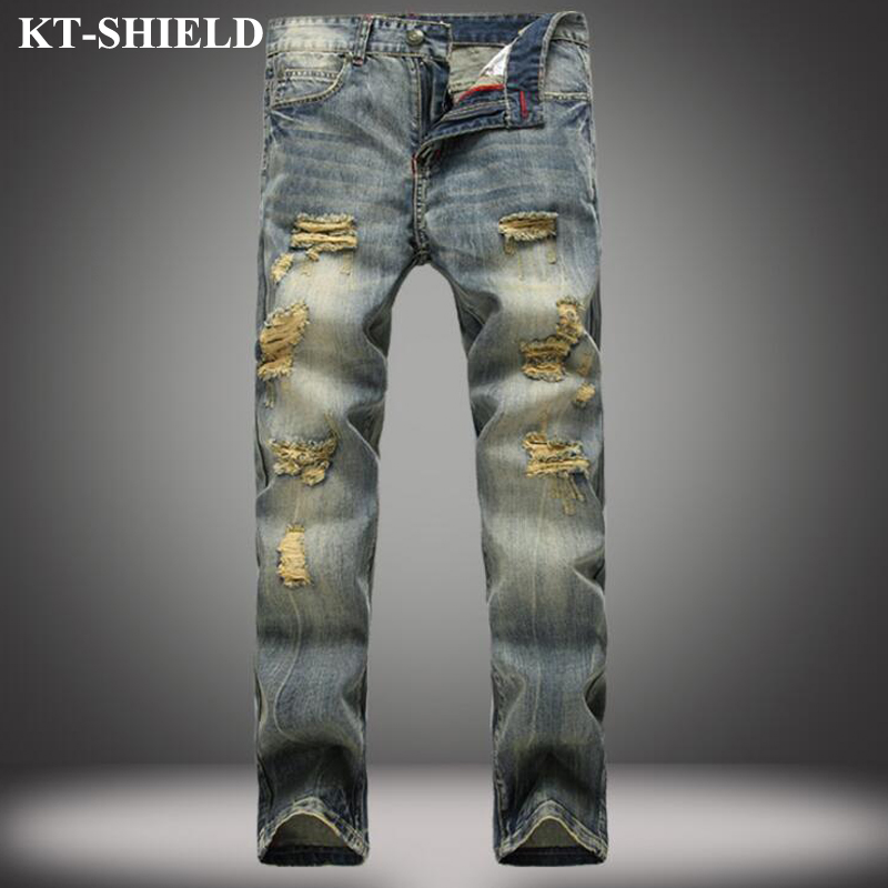 High Quality Mens Ripped Biker Jeans Vintage Slim Fit Motorcycle Jeans Men Fashion Denim Pants 100