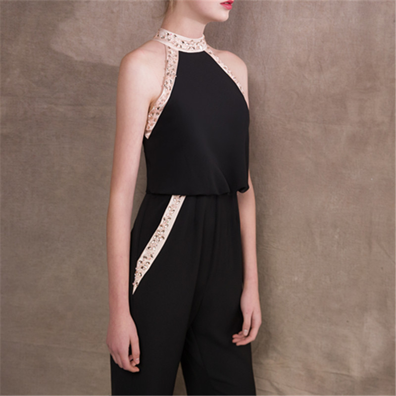 It s Yiiya Halter Crystal Pockets Zipper Empire Dinner Party Dress Elegant  Jumpsuit Formal Pant Suit Evening Dress Pants NX013-in Evening Dresses from  ... 139b7390519c