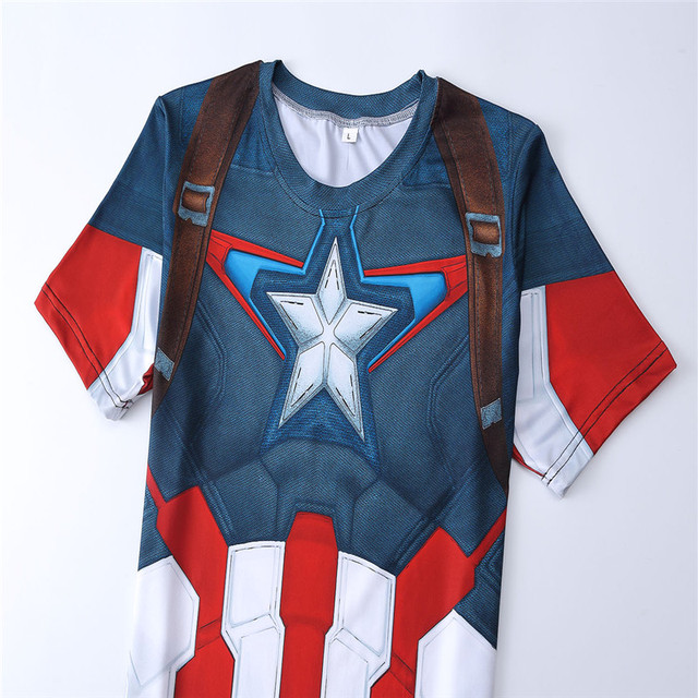 2016 3D TShirt High quality fast drying polyester new fashion mens short sleeved shirt superman captain America t shirt men Slim