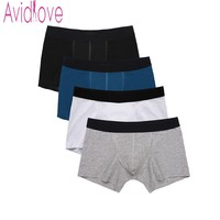 Avidlove 4pcs/lot Mens Underwear Cotton Boxers Underpants Breathable Boxer Shorts Men Panties Male Underwears cueca masculina