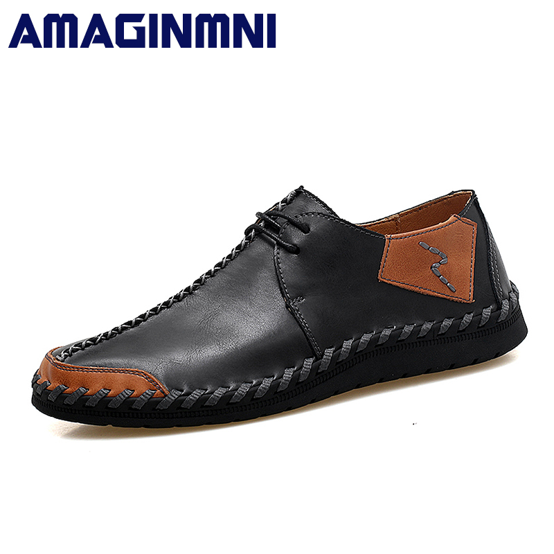 AMAGINMNI Brand 2018 New Men Shoes Big Size 38-47 Mens Shoes Casual High Quality Split Leather Shoes Lace Up Man Flats Shoes urbanfind genuine leather men shoes black white footwear plus size 39 47 high quality man lace up casual flats 45 46 47