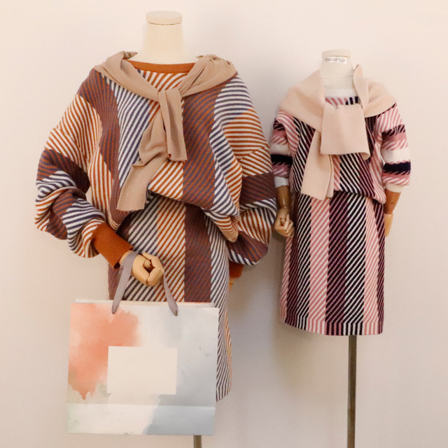 2018 new mother and daughter Knit skirt set in matching outfits mommy and girl dress family clothing mother daughter sweater set