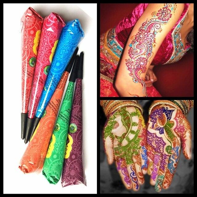 9 Color Elegir Henna Tatuaje Pegar Crema Mehndi Henna Tatuaje Conos