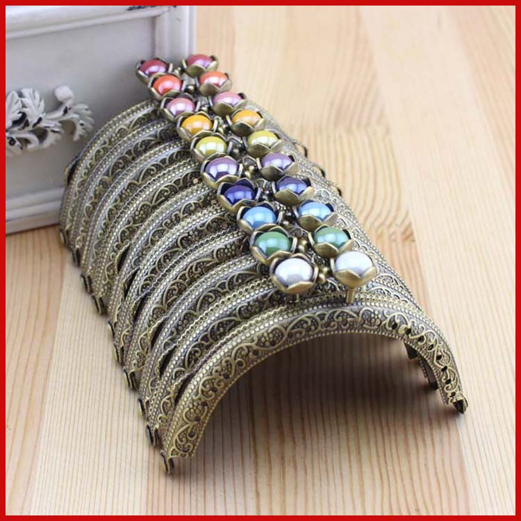 Nabi Pure and fresh and lovely water lily bead Coin Purse Frame Handle for Bag Sewing Craft,semicircle antique brass knurling