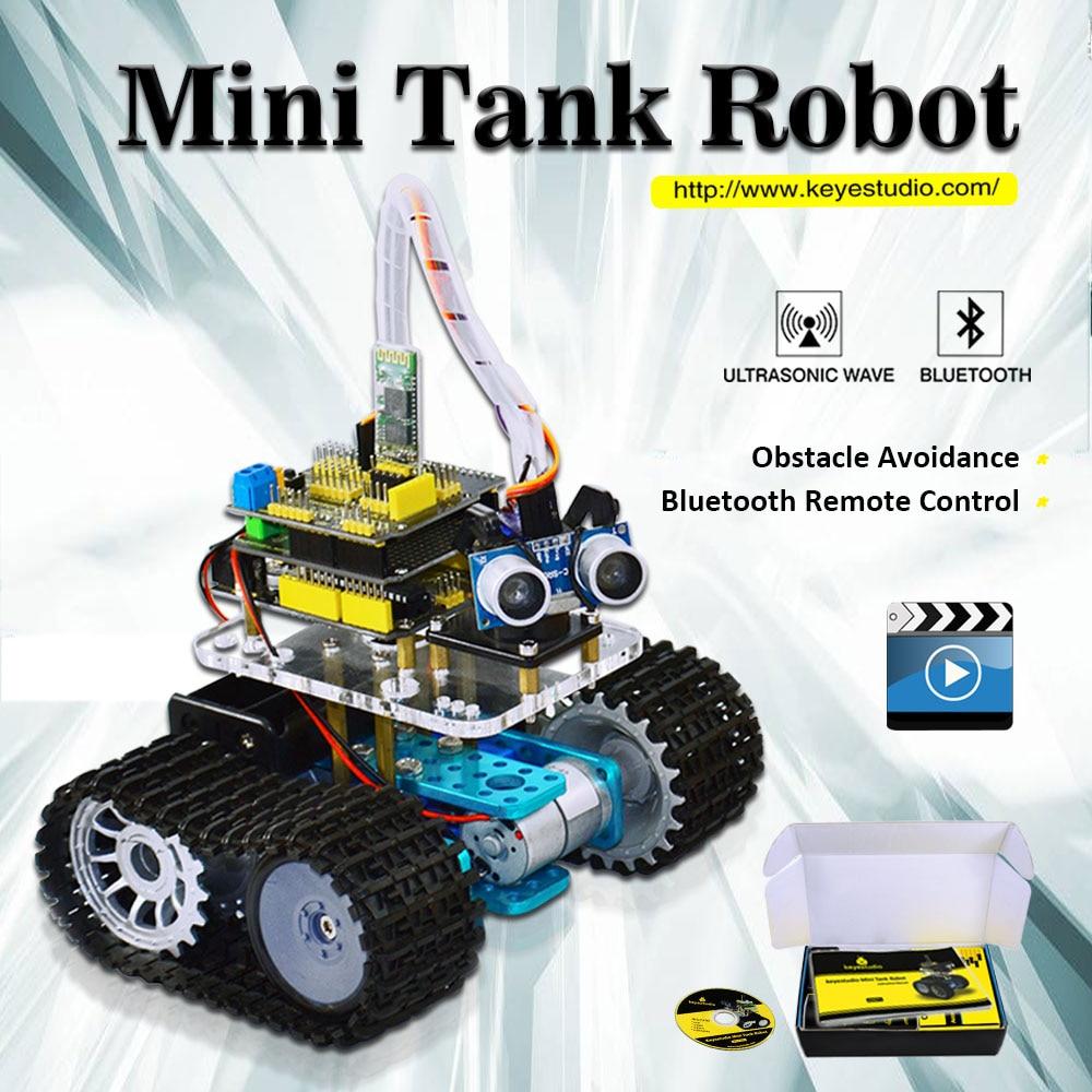 Keyestudio DIY Mini Tank Smart Robot car kit for arduino Robot starter manual PDF Installation Video