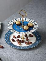EECAMAIL Years Gilt Frame Creative Bone China Dessert Afternoon Tea And Dessert Ceramic Double Layer Cake Dish Fruit Plate