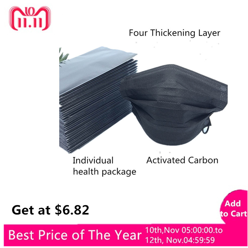 Useful 50pcs 4 Layer Disposable Black Activated Carbon Anti Dust Masks Face Mouth Mask Ear Hanging Gas Respirator Filter Mouth-muffle Masks