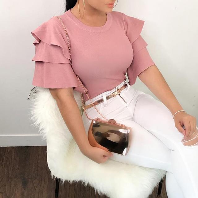 Women Ruffles Short Sleeve Blouses 2019 Summer Tops Elegant O-Neck Slim Ladies Office Shirt Korean Fashion Pink Red Blouse Blusa