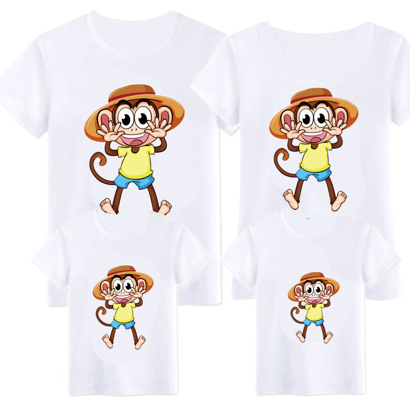Family Clothes Mother Daughter T Shirt Womens Kids Girls summer Cartoon Monkey Tops Tee short sleeve casual matching outfits 6QZ