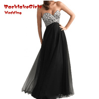 In Stock Cheap Black Prom Dresses 2017 Chiffon Vestidos 6 Colors A Line Evening Prom Gown