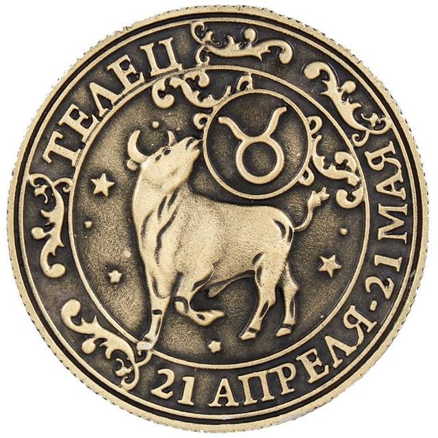 Taurus Konstellation Serie Metall Münzen Glück Charme Handwerk