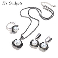 K'S Gadgets Jewellery Vintage Silver Imitation pearls Earring Ring Necklace Sets Black Crystal Pearl Jewelry Set for Women