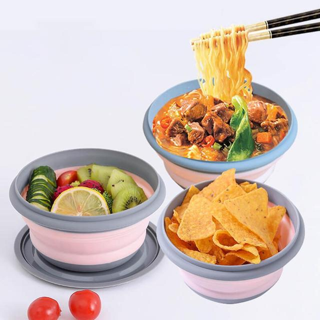 3PCs Outdoor Camping Tableware Sets Silicone Folding Lunch Box Portable Silicone Salad Bowl With Lid Silica Gel 6