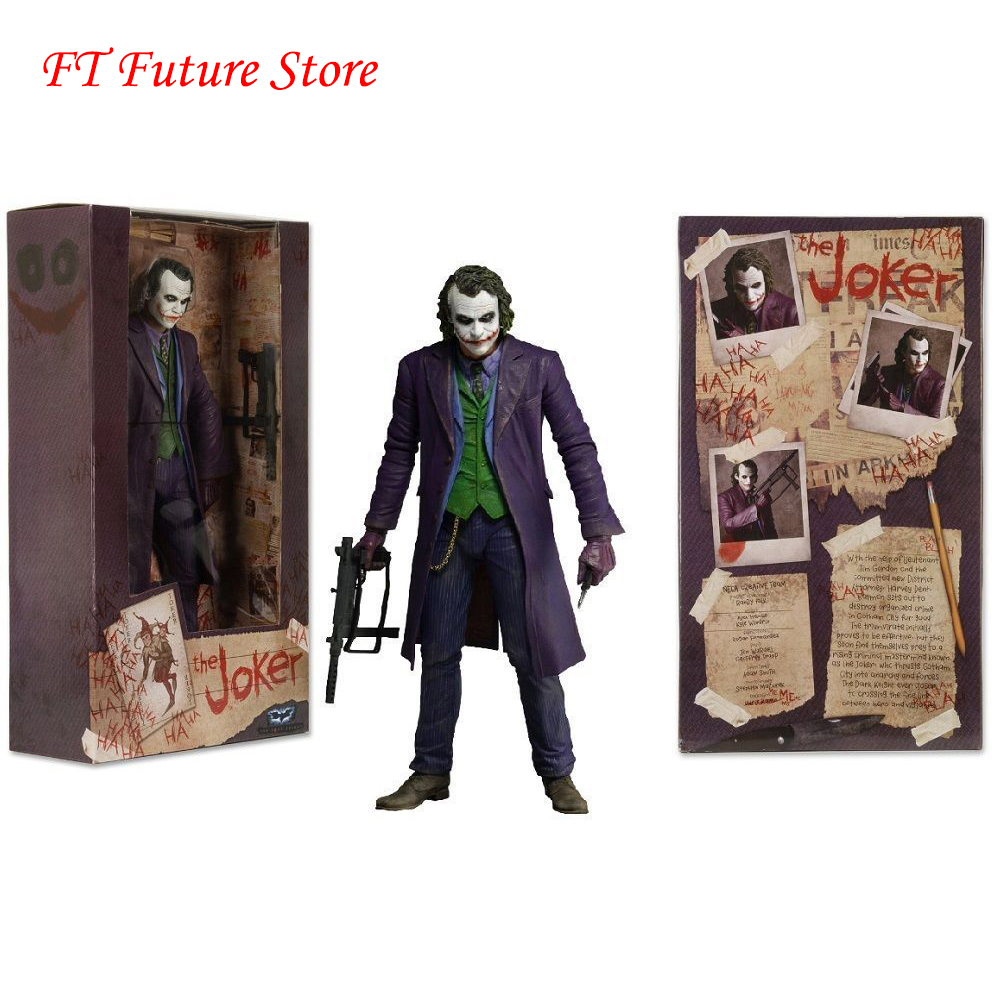 For Collection 7'' NECA Batman The Dark Knight The Joker Heath Ledger PVC Figure Toys Model For Children Boys Gift