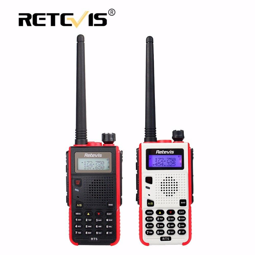 bilder für 1X Retevis RT5 Walkie Talkie 5 Watt 128CH VHF UHF Dual Band VOX FM Radio Scanner Amateur cb Radio Station Communicator mit Headset