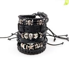 ZIRIS New! 6pcs black Set Punk skull Genuine Wrap Leather Bracelets Men For Women Charm Anchor Bracelet Cuff Jewelry Accessories
