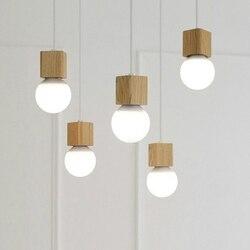 Rustykalne kwadratowe drewniane lampy wiszące study kids room decor drewniane pojedyncze małe oprawa oświetleniowa