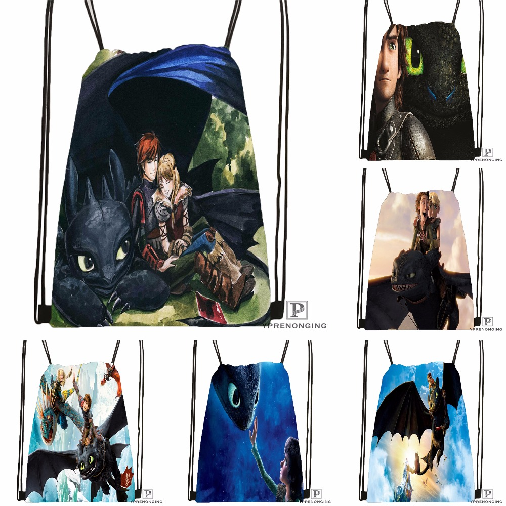 Custom How To Train Your Dragon Drawstring Backpack Bag Cute Daypack Kids Satchel (Black Back) 31x40cm#180531-01-45