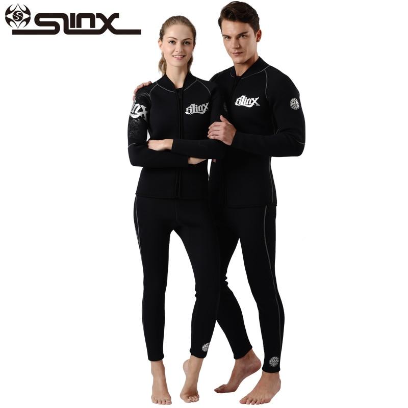 Slinx Unisex 3/5mm Neoprene Jacket Fleece Lining Wetsuit Kite Surfing Windsurfing Swimwear Boating Scuba Keep warm Diving Suit-in Wetsuit from Sports & Entertainment    1