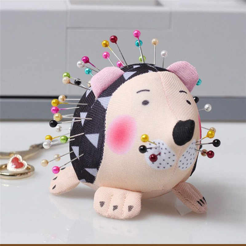 New Cute Pin Cushion Hedgehog Shape Soft Fabric Pin Cushion Round Pins Quilting Sewing Craft Tools Sewing Needle Storage Bag